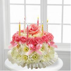 torta de pastel de cumpleaños de flores