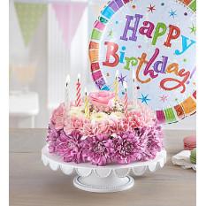 Deseos de cumpleaños Pastel de flores en colores pastel (Pequeño con globo)