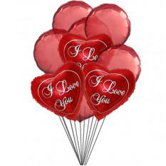 Te quiero Balloon Bouquet (6 Látex y 3-Mylar globos)