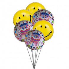 Smiley globos azul cumpleaños (3 Látex y 3 Globos de Mylar)