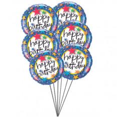 Globos rosados decir feliz cumpleaños (3 Látex y 3 Globos de Mylar)