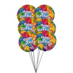 globos con gas cumpleaños (3 Látex y 3 Globos de Mylar)