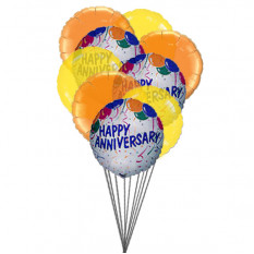 Balloons of wishing happy anniversary (6 Latex & 3-Mylar Balloons)