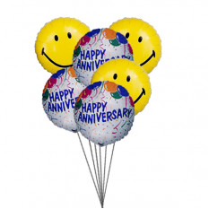 globos aniversario Smiley (3 Látex y 3 Globos de Mylar)
