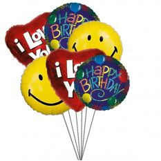 Birthday bash balloons full of love,smile & wishes (6 Latex & 3-Mylar Balloons)