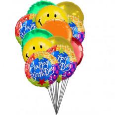 Smiley globos que le desean feliz cumpleaños (3 Látex y 3 Globos de Mylar)