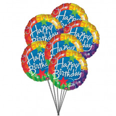 Cheerful happy birthday balloons (6 Latex & 3-Mylar Balloons)