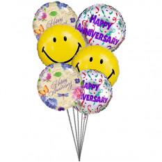 globos aniversario feliz (6 Látex y 3-Mylar globos)