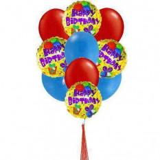 Colorido cumpleaños hincha (4-Mylar y 6-Látex Globos)