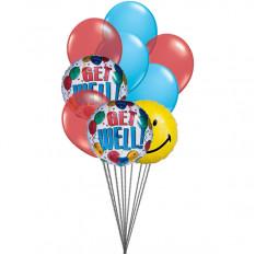 globos de smiley Getwell (6 Látex y 3-Mylar globos)