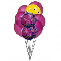 El manojo de globos sonrisa con Get Well Soon (6-Mylar y 3-látex globos)
