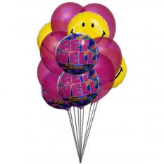 El manojo de globos sonrisa con Get Well Soon (3 Látex y 3 globos metalizados)