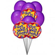 globos Purply Getwell (6 Látex y 3-Mylar globos)