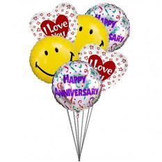 Te amo globos aniversario (3 Látex y 3 globos metalizados)