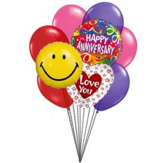 globos preciosa aniversario (3 Látex y 3 Globos de Mylar)