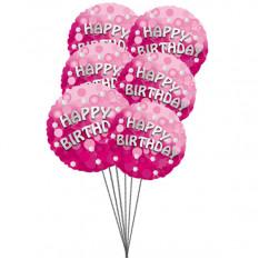 globos rica cumpleaños (3-Mylar y 3-Látex Globos)