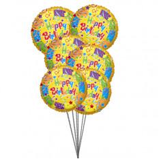 Ramo de mejores globos de cumpleaños (3 Látex y 3 Globos de Mylar)