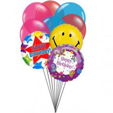 globos de la fiesta de cumpleaños (3 Látex y 6 Globos de Mylar)