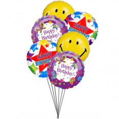 globos de la fiesta de cumpleaños (3 Mylar y 3 globos de látex)