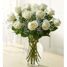 Tallo de rosa Elegance Premium Rosas Blancas (12 Stem rosas blancas)