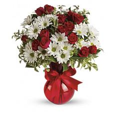 Ramo rojo, blanco y usted por Giftblooms (pequeño)