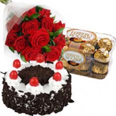 Pastel de Rosas Rojas con Ferrero Rocher