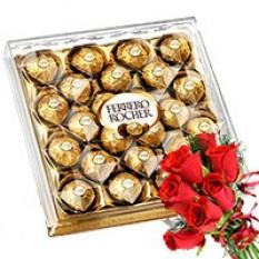 Ferrero Rocher con Red Rose Bunch