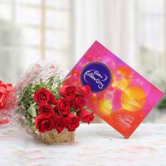 Rosas Rojas con Cadbury Box