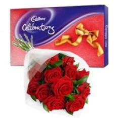 Pack de Celebración Cadbury con 12 Ramas de Rosas Rojas