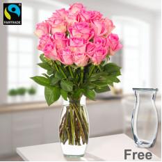 Manojo de 20 rosas púrpuras con el florero
