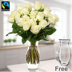Manojo de 20 rosas blancas de FAIRTRADE con florero
