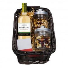 Cesta de vino blanco de 375ml y nueces