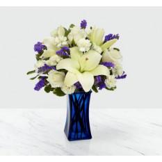 Más allá de azul Bouquet - FLORERO INCLUIDO