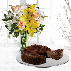 Margaritas y rayos de sol con chocolate triple pastel Brownie Enrobed