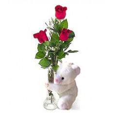 Yo-amor-U Rosas con el oso de peluche en el florero
