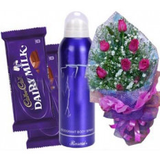 Rosas con las mujeres'S Body Spray Y Chocolate