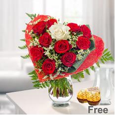 Bouquet de rosas Romeo con jarrón