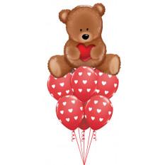 Ramo de globos de amor de oso de peluche