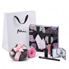 Mii Lujoso conjunto de maquillaje con Godiva y Rose