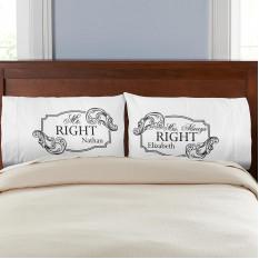 Mr. Right Sra. Always Right Pillowcases - Juego de 2