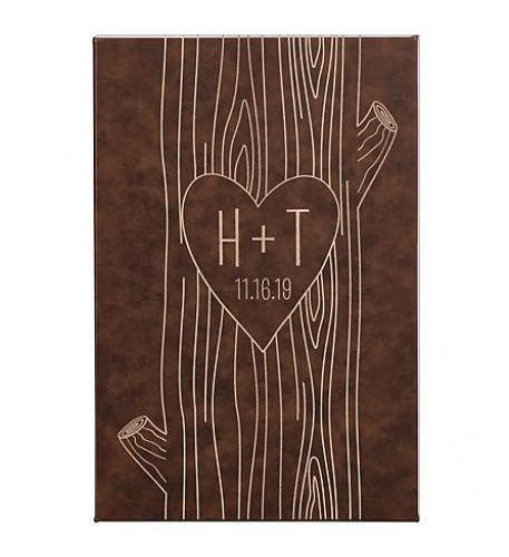 Arte de pared de cuero tallado del corazón