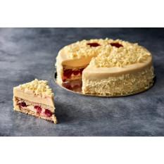 Esponja de vainilla y pastel de frambuesa