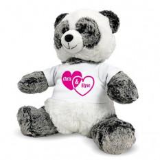Oso de panda personalizado - Corazones de parejas - 12 pulgadas