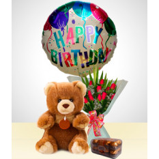 Cumpleaños Combo A: Ramo de 12 Rosas + Oso + Chocolates + Globo Feliz Cumpleaños