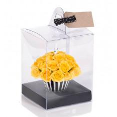 Cupcake de cumpleaños amarillo