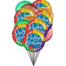 globos de feliz cumpleaños alegre (6-Mylar y 6-látex globos)