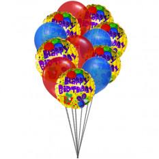 Colorfull cumpleaños hincha (6 Látex y 6-Mylar globos)