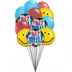 globos sonrientes Getwell (6-Mylar y 6-Látex Globos)