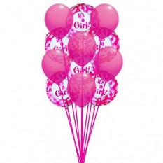 globos rosados (6-Mylar y 6-látex globos)