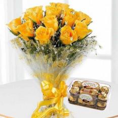 12 rosas amarillas Ramo con 16 Ferrero Rocher